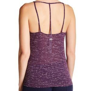 ALO Yoga | Helena T-Back Purple Tank Heather Top